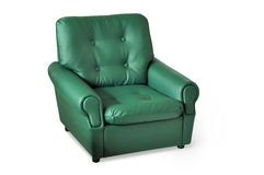 Green leather armchair Stock Photos