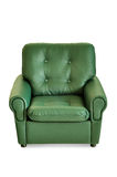 Green leather armchair front Stock Images