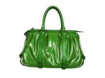 Green leather bag Stock Image