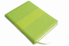 Green leather cover of binder notebook. On white background Royalty Free Stock Image