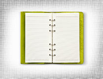 Green leather cover of diary isolate is on white background Royalty Free Stock Photo
