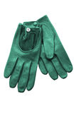 Green leather gloves isolated on white Stock Photo