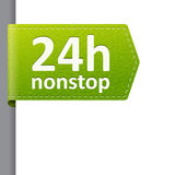 Green leather 24 hour nonstop open bookmark label. Green leather 24 hour nonstop open  bookmark label. isolated from background. layered Stock Image