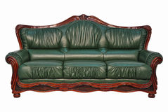 Green leather sofa Stock Image