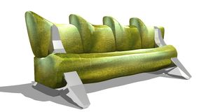 Green leather sofa. Green isolated sofa on white background Stock Image
