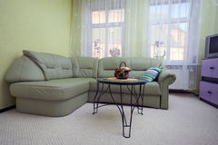 Green leather sofa. A green sofa and a pillow - living room interior. Wide angle, TV and cupboards in the corner Stock Photos