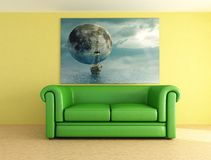 Green leather sofa. And picture -digital artwork Royalty Free Stock Photos