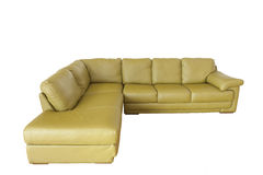 Green leather sofa isolated on white Royalty Free Stock Photography