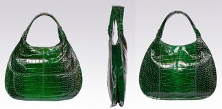 Green leather woman bag stock image