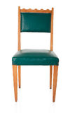 Green leather and wooden old chair Royalty Free Stock Photos
