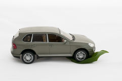 Green leave and a car.Ecology conception Royalty Free Stock Images