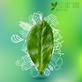 Green leave with doodles about eco lifestyle Royalty Free Stock Image