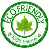 Green leave and ECO FRIENDLY wording. Eco concept Stock Image