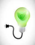 Green leave eco light bulb illustration design Stock Image