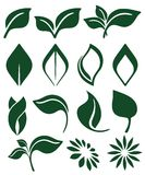 Green leaves. Abstract green leaves icons set stock illustration