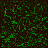 Green leaves with abstract swirls, leaves, flowers and hearе. Stock Photos