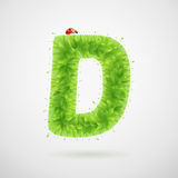 Green leaves alphabet with ladybird. Ecology summer. Letter D Royalty Free Stock Photo