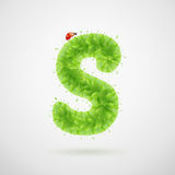 Green leaves alphabet with ladybird. Ecology summer. Letter S Royalty Free Stock Photos