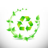 Green leaves around a recycle symbol. illustration Royalty Free Stock Photos