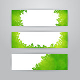 Green leaves banners Stock Photos