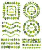 Green leaves  border,brushes,wreath set.Stylized Stock Photo