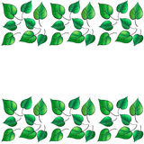 Green Leaves border. Digital illustration for Art, Print, Web graphic design Royalty Free Stock Photography
