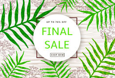 The green leaves and branches on the wood background. Final sale. Poster, banner. Vector illustration Royalty Free Stock Photos