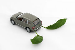 Green leaves and a car.Ecology conception Royalty Free Stock Photos