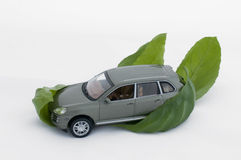 Green leaves and a car.Ecology conception Stock Image