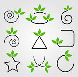Green leaves design elements Stock Images