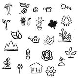 Green Leaves Doodles Stock Photo