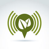 Green leaves ecological theme icon, vector conceptual unusual sy Stock Photo