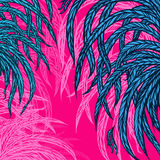 Green leaves, feathers, on a pink background, design elements. Vector illustration Vector Illustration