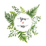 Green Leaves foliage vector round greenery leaf wreath of eucalyptus branches forest fern frond herb plant assortment mix card de royalty free illustration
