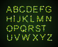 Green Leaves font, st. patrick day, clover font, Royalty Free Stock Image