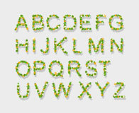 Green Leaves font, st. patrick day, clover font, Stock Photography