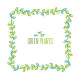Green leaves frame design element in hand drawn relaxed style Royalty Free Stock Photos
