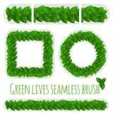 Green leaves fresh vector border pattern brush. stock illustration