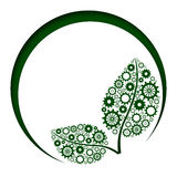 Green Leaves With Gears Circles. Green Leves shape with gears with a green circles stock illustration