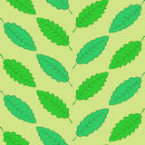 Green leaves geometrically located. On the light green background vector illustration
