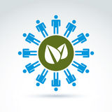 Green leaves global life and mankind symbolic icon, vector conce Royalty Free Stock Photo
