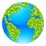 Green Leaves Globe Earth World Concept. Green leaves globe earth world. Conceptual illustration of a globe with leaves forming the continents Stock Photos