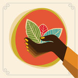 Green leaves hand . Eco Friendly Vector illustration. Royalty Free Stock Images