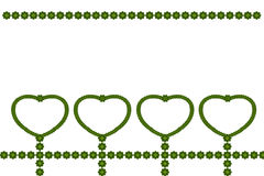 Green leaves heart-shaped frame Stock Images