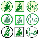 Green leaves icon. Set of green leaves icon. Concept Save the Planet Royalty Free Stock Photography