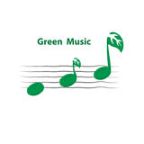 Green Leaves Icon With Musical Note Vector Logo Design Template. Stock Photos