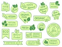 Green leaves labels. Eco, healthy and natural products. Certified quality fresh organic vegetarian food vector label stock illustration
