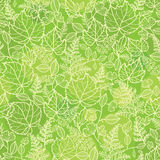 Green leaves lineart texture seamless pattern Royalty Free Stock Photos