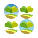 Green leaves logo. Design. Set of 4 Stock Photos