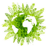 Green leaves with map Stock Photo